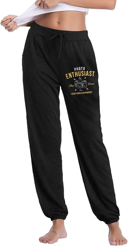 Pkaixin Photo Enthusiast Women's Cotton Long Pants with Pockets Workout Casual Sweatpants Drawstring Waist Jogger