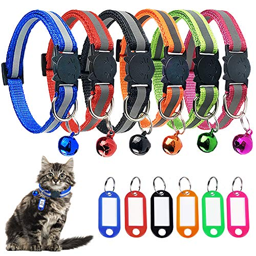 STMK 6 Pack Reflective Breakaway Cat Collar with Bell ID Tag, Adjustable Cat Collar with Bell Weatherproof ID Tag, Ideal Size Safe Durable Cat Collar Pet Collars for Cats Kittens
