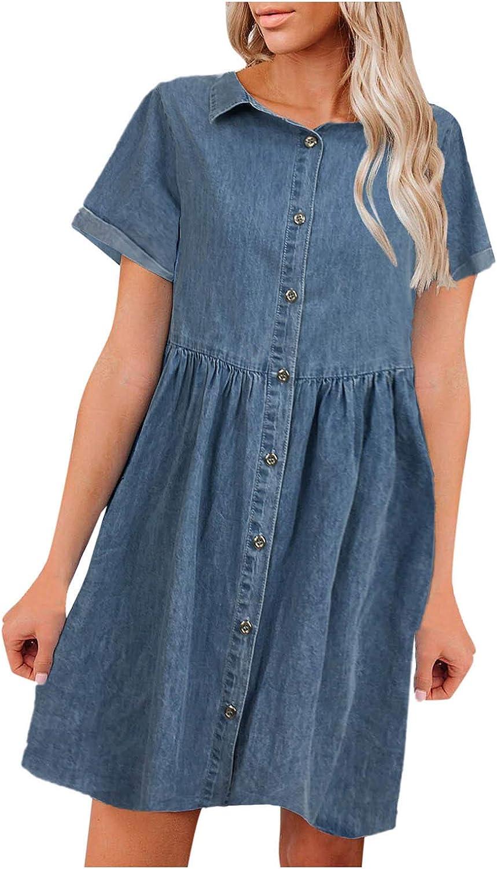 Bidobibo Womens Tshirt Denim Dress Button Down Short Sleeve Blue Jean Dress Solid Color Midi Dresses for Women