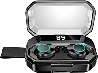 【進化版 4000mAh充電ケース 最大500分間音楽再生 LEDディスプレイ Bluetooth5.0 EDR搭載 IPX7完全防水 超大容量充電ケース付き 】Bluetooth イヤホン 自動ペアリングHi-Fi高音質 3Dステレオサウンド 音量調節 マイク内蔵 CVCノイズキャンセリング 軽量 Siri対応 完全ワイヤレス ブルートゥース スポーツ 左右分離型 技適認証済 iPhone/ipad/Android対応 ブラック