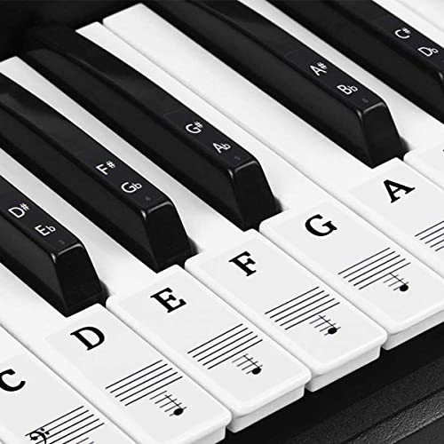Dokpav Autocollants de Piano, pour 37/49/54/61/88 touches de piano, Autocollants de Clavier de Piano, Clavier électro...