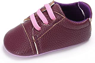 RVROVIC 0-18 Months Baby Girls Boys Moccasins Anti-Off PU Leather Soft Sole Crib Shoes Infant Walkers