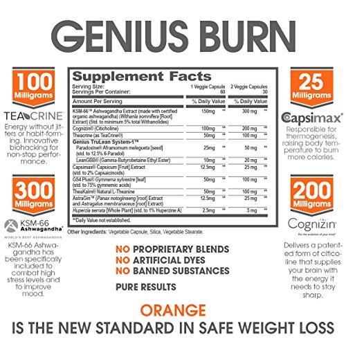 Genius Fat Burner - Thermogenic Weight Loss & Nootropic Focus Supplement - Natural Metabolism & Energy Booster for Men & Women | Thyroid Support and Appetite Suppressant w/ Gymnema Sylvestre, 60 Pills 6