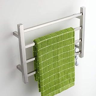 HL Toallero eléctrico, termostático baño eléctrico Cromado Curvado Calentamiento calefacción radiador toallero Calentador, baño de Secado Rack Acero Inoxidable (450 * 600 * 110)