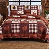 Lodge Tagesdecke für Doppelbett, mit 1 Kissenbezug, 2-teilig, wendbar, für alle Jahreszeiten, aus der Stonehurst-Kollektion, Schokoladenbraun / Grün