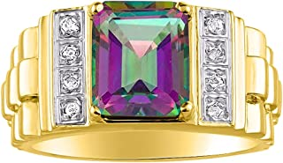 RYLOS Mens Rings Yellow Gold Plated Silver Designer Style 10X8MM Emerald Cut Shape Gemstone & Genuine Diamonds Color Stone...