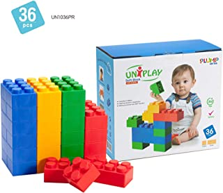 UNiPLAY Jumbo Multicolor Soft Building Blocks Plump Series 2 Different Sizes of Blocks for Ages 3 Months & Up Non-Toxic & BPA-Free Developmental, Educational, Creative Toy 36 Piece