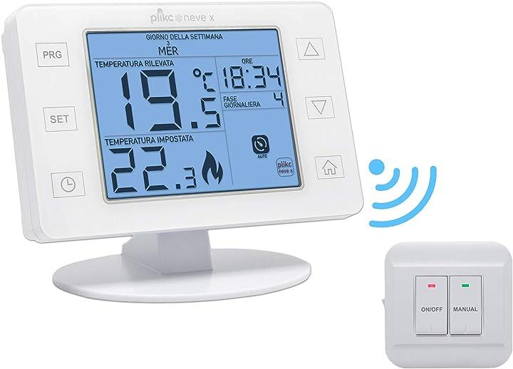 Cronotermostato wireless da parete o da tavolo alimentazione settimanale digitale plikc - color neve B08JMCW6YK