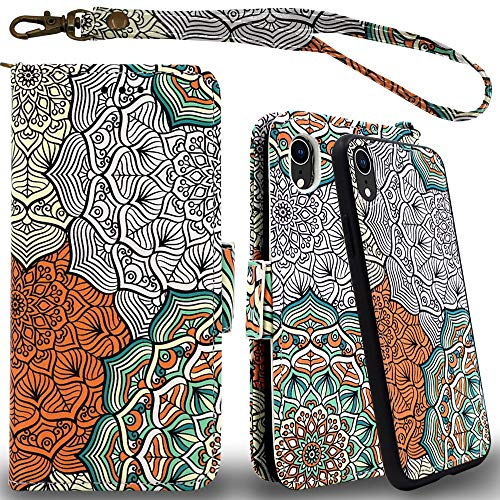 Mefon iPhone XR Detachable Leather Wallet Case, with Tempered Glass and Wrist Strap, Enhanced Magnetic Closure, Card Slot, Kickstand, Luxury Flip Folio Cases for Apple iPhone XR 6.1 (Mandala 2)