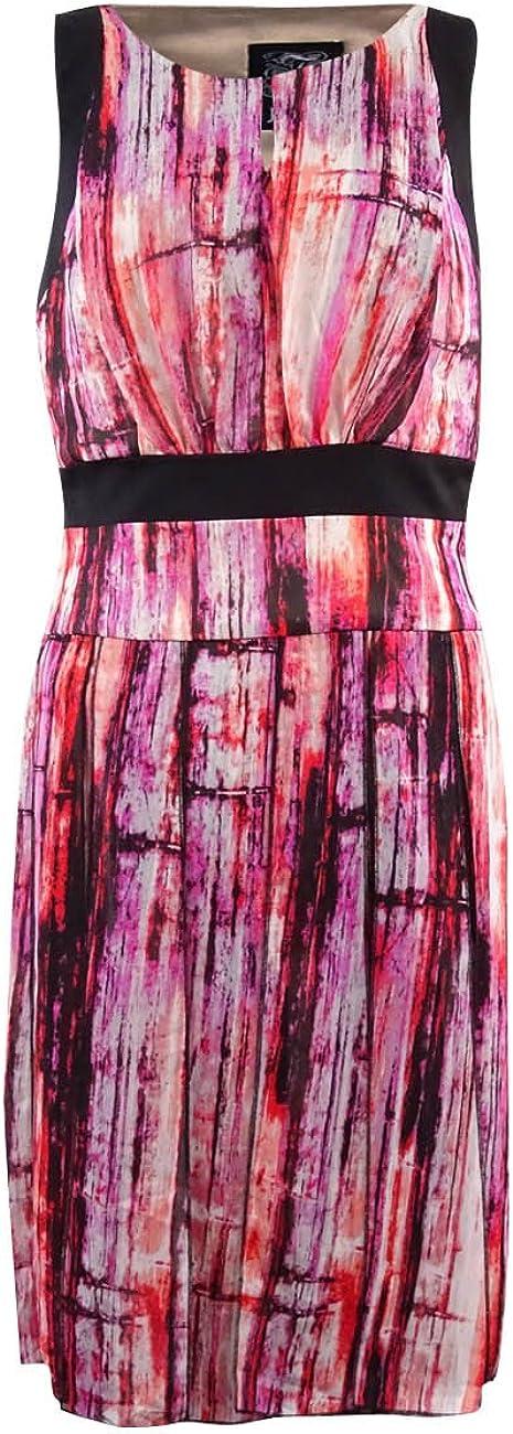 Jax Women's Printed Chiffon Keyhole Dress
