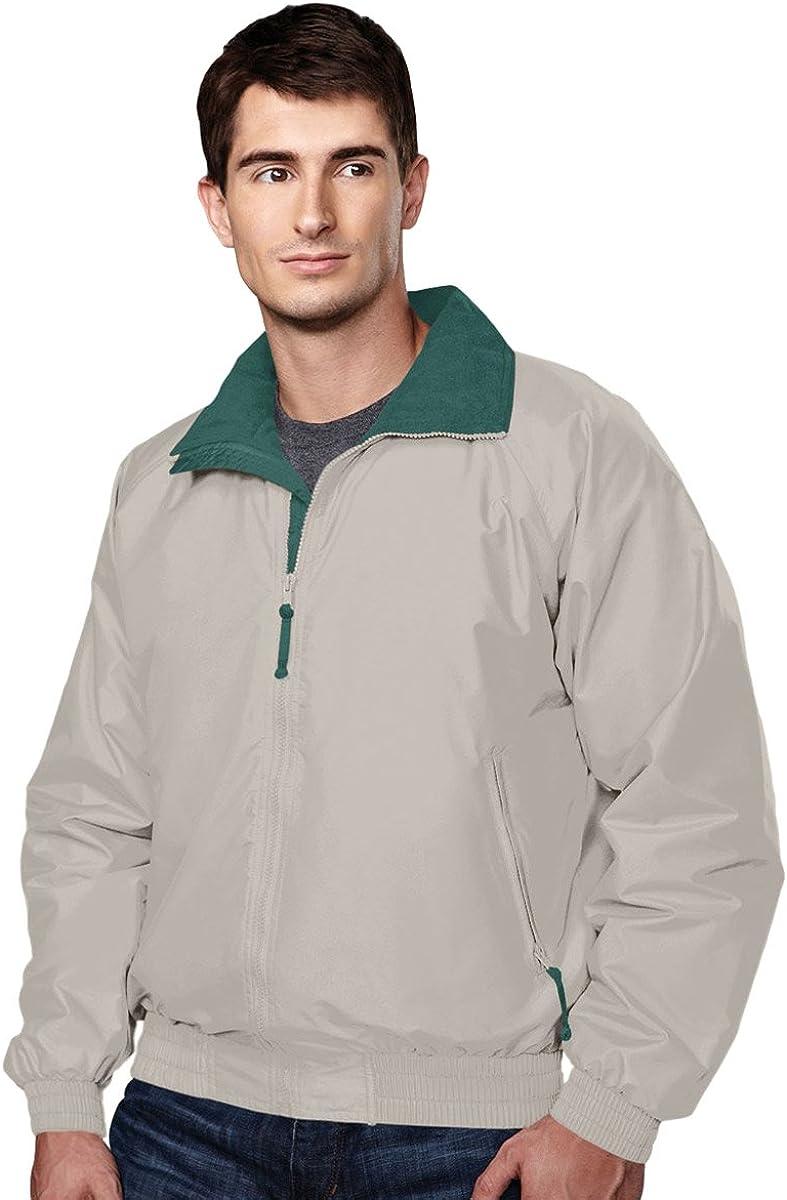 Tri-Mountain Men's Big And Tall Fleece Shell Jacket, KHAKI/FOREST GREEN, 2XLT