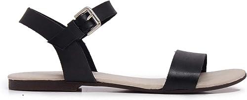 Sandales Femmes Cuir Clip Toe Flip Flop Noir Eva Lopez
