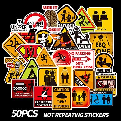 50 Stks Waarschuwingsbord Sticker Wallpaper Sticker Motorfiets Koelkast Skateboard Graffiti Sticker Auto Laptop Trunk Auto