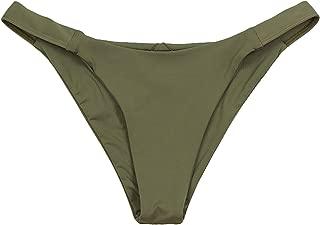 ToBeInStyle Women's Colorblock Elastic Bands Seamless Cheeky Bikini Bottom