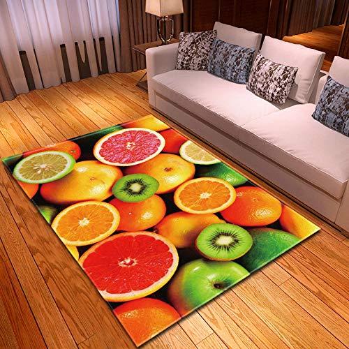 BEDSERG Alfombras Modernas Grandes Fruta roja Naranja Verde Kiwi Alfombra Interior Y Exterior fácil Mantenimiento Ideal para salón, Cocina 120x170cm