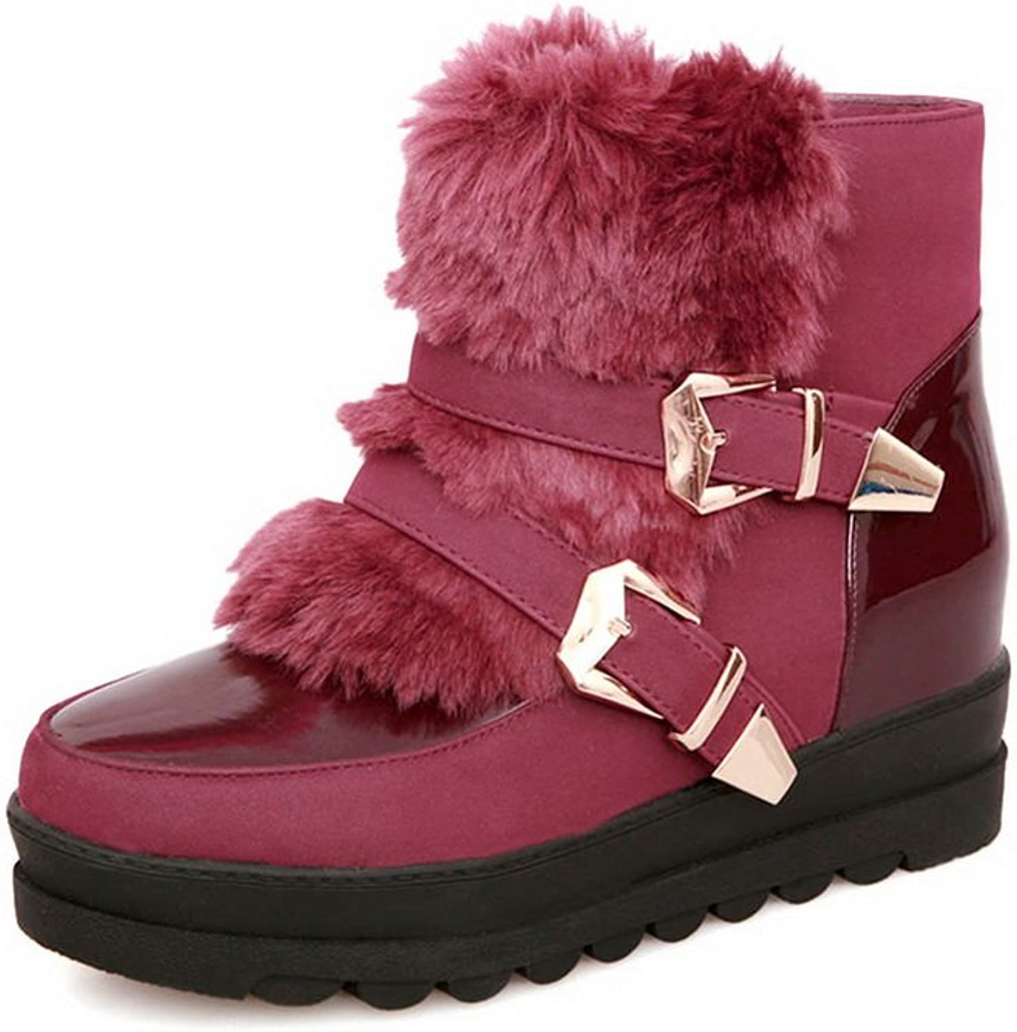 QueenFashion Women's Glitter Ankle Snow Boots with Zipper and Metal Buckles