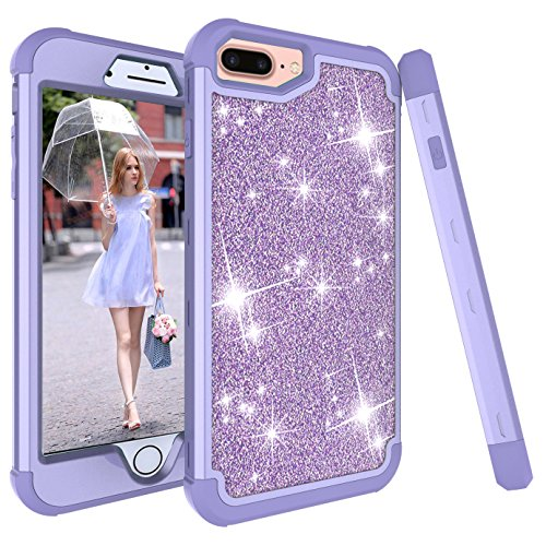 iPhone 6s Plus Case, Ankoe 3D Luxury Glitter Sparkle Bling Shiny Hybrid Sturdy Armor Defender High Impact Shockproof Protective Cover Case for Apple iPhone 6 Plus & 6s Plus (Purple)