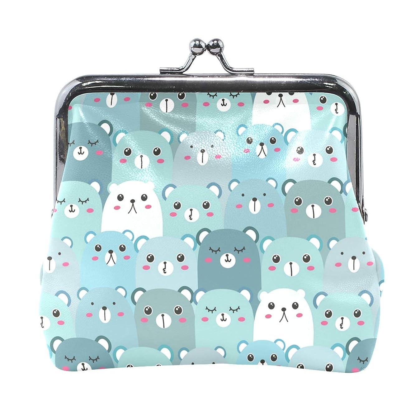 高音祈る構想するがま口 財布 口金 小銭入れ ポーチ 熊 群れ 可愛い ANNSIN バッグ かわいい 高級レザー レディース プレゼント ほど良いサイズ