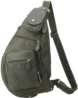 AMAZACER Men Vintage Leather Crossbody Sling Shoulder Bag Chest Pack Sports Handbag with (Color : Green)