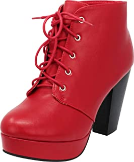 Best red lace up boots Reviews