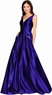 Prom Dresses for Women V-Neck Long Satin Formal Evening Party Gown with Pockets