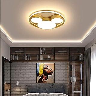 Lámpara de techo de Mickey Golden LED Muchacha de dibujos animados Niño Niño 40W Control remoto regulable Lámpara de techo para sala de estar Dormitorio Dormitorio Interior Iluminación 52cm (40W)