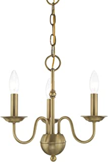 Livex 52163-01 Transitional Three Light Mini Chandelier from Windsor Collection Finish, Antique Brass
