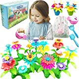 VLUSSO Gifts for 3-6 Year Old Girls - DIY Flower Garden Building Kits Educational Outdoor Activity for Preschool STEM Crafts for Kids Age 3 4 5 6 Year Old Gardening Gifts Birthday Christmas (125 PCS)
