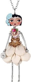 BONSNY Paris Doll Necklace Dress Handmade Pendant Alloy Crystal Flower Long Chain Fashion Jewelry