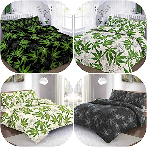 Cannabis Duvet Covers Bed Set - 2 Piece Quilt Cover Plus One Pillow Case - Reversible Marijuana Weed Leaf Print Bedding In UK Sizes (Black/Green, Single)