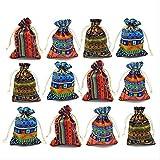 PXNH 12 stück Ägyptischen Stil Schmuck Münztüte Druck Kordelzug Geschenk Tasche Baumwollbeutel Süßigkeiten Reisegeldbörse