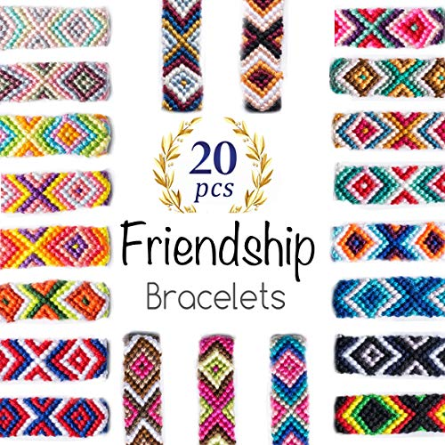 iShyan Woven Friendship Bracelets 20 Pcs Braided Bracelets Handmade Colorful Adjustable String Bracelets,1.5cm