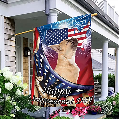 Happy Independence Day With French Bulldog Flag Patriotic Flag Garden Flag, House Flag (House Flag 29.5'x39.5')