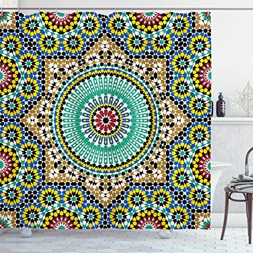 Ambesonne Marokkanische Dekor-Kollektion, architektonisch glasierte dekorative Wandfliesen aus Keramik, historische Reiseziele, Polyestergewebe, Badezimmer-Duschvorhang-Set mit Haken, Khaki-Blau