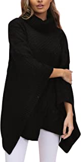BerryGo Women's Chic Turtleneck Batwing Sleeve Asymmetric Knitted Poncho Pullovers Sweater