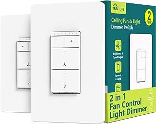کنترل پنکه سقفی هوشمند و سوییچ نور دیمر 2PACK ، سیم خنثی مورد نیاز ، کنترل سرعت فن فن سوییچ Wi-Fi تک قطبی Treatlife ، با Alexa / Google Assistant ، کنترل از راه دور خانه هوشمند کار می کند