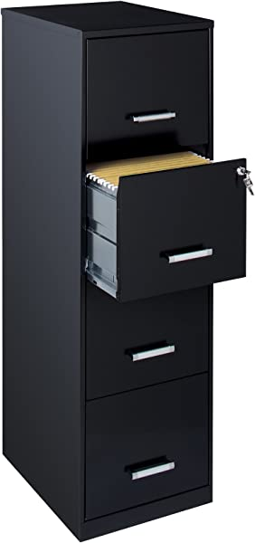 Space Solutions 21618 18 4 Drawer Metal File Cabinet Black