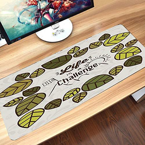 Gaming-Mauspad Gummiunterseite,Zitat, das Leben ist eine Herausforderung Zitat mit Blätter Rising Sun hinter,Schreibtischunterlage Abwischbar Anti Rutsch Matte Multifunktionales Office Mousepad60x35cm