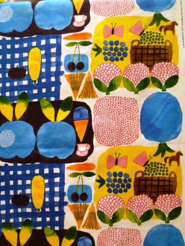 marimekko生地 KESATORI  新色 ブルー  1巾140cm×50cmのカット販売
