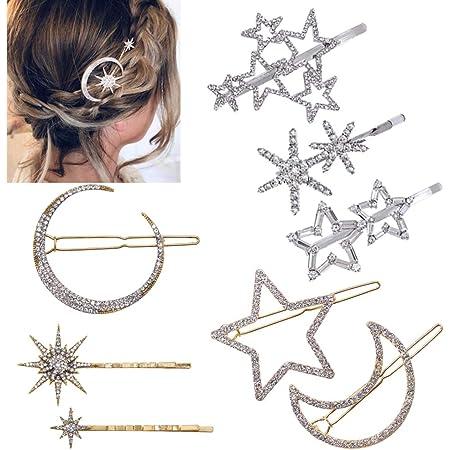 Women Rhinestone Moon Star Hairpin Hair Clip Hair Pin Barrette Hair Accessories