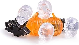 Bat, Pumpkin, Skull Shaped Reusable Ice Cubes - Black/Orange/White Plastic Ice Cubes for Drinks Party Favors - Halloween D...