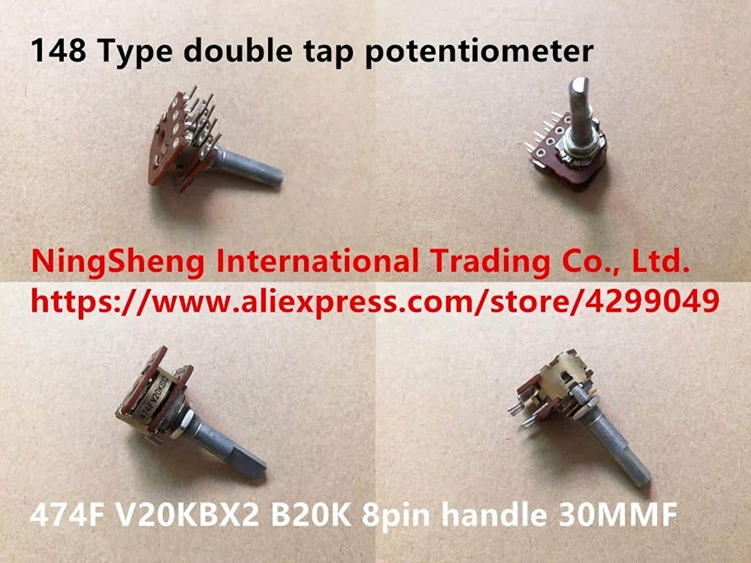 Original New 100% Import 148 Type Double tap Potentiometer 474F V20KBX2 B20K 8pin Handle 30MMF (Switch)