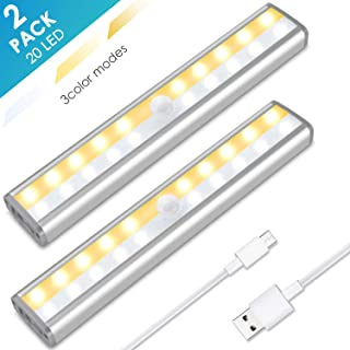 Under Cabinet Lighting, MOICO 3 Color Modes 20 LED Wireless Motion Sensor Closet Lights Rechargeable Magnetic Stick On Lights Bar for Counter, Wardrobe, Kitchen, Hallway, Stairs, 2 Pack