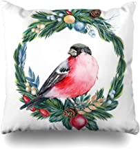 Ahawoso Throw Pillow Cover Merry Green Noel Christmas Bird Watercolor Pine Red Abstract Berries Berry Border Branch Holly Home Decor Pillowcase Square Size 16