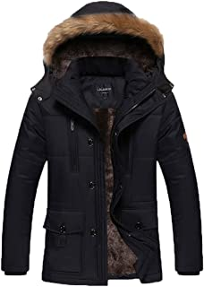 Men's Winter Warm Fleece Lined Coats with Detachable Hooded Windbreaker Jacket