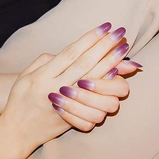 Fake Nails, Purple Gradient Short Nail Art Round Head False Nails 24pcs 12 Different Size (Purple Gradient)
