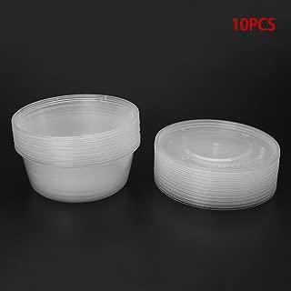 LANDUM 10Pcs Caja desechable de plástico para el envase de Sopa de Comida para el Almuerzo con contenedor de Tapas Redondas Nuevo