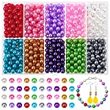 800 Pcs Colored Pearl Beads, Kanzueri Bracelet Pearls Craft Beads 6mm Plastic Satin Pearl Beads with Holes Pearls Loose Beads for Resin Jewelry Crafting Making