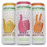 NatureWise Whole Body Vitality Drinks Reduce Stress, Enhance Focus, and Suppress Cravings. Sparkling Organic Tea and Ashwagandha, 0 Sugar, 0 Calories