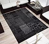 Design Velours Kurzflor Teppich »Bombay« Patchwork-Look Ornament schwarz grau, Größe:120x170 cm